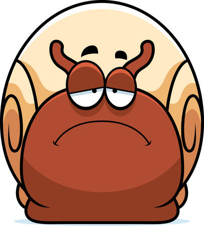 mollusc: A cartoon illustration of a snail looking sad.