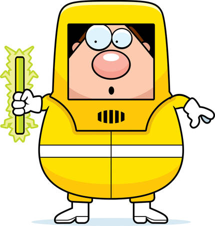 A cartoon illustration of a man in a hazmat suit with radioactive material.