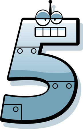 numbers clipart: A cartoon illustration of a number five as a metal robot.