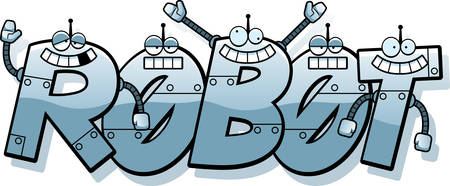 A cartoon illustration of robot letters spelling the word robot.
