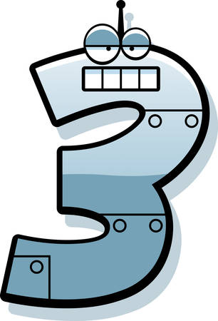 numbers clipart: A cartoon illustration of a number three as a metal robot.