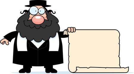 the rabbi: A cartoon illustration of a rabbi with a sign.
