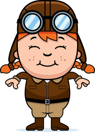 A cartoon illustration of a child pilot smiling.