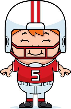 pis: Una ilustración de dibujos animados de un jugador de fútbol pee wee sonriendo.