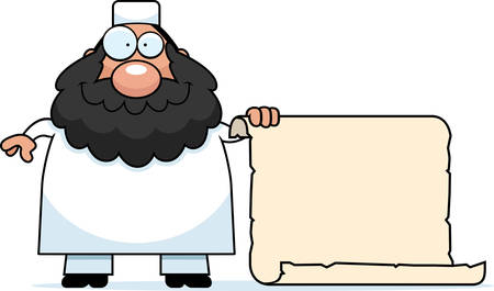 cleric: A cartoon illustration of a Muslim man with a sign.