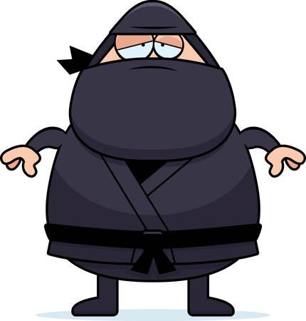 exhausting: A cartoon illustration of a ninja looking tired.