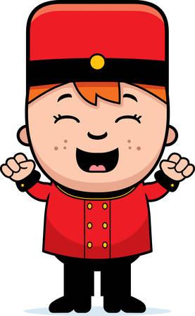 bellhop: Una ilustraci�n de dibujos animados de un ni�o botones celebrando. Vectores