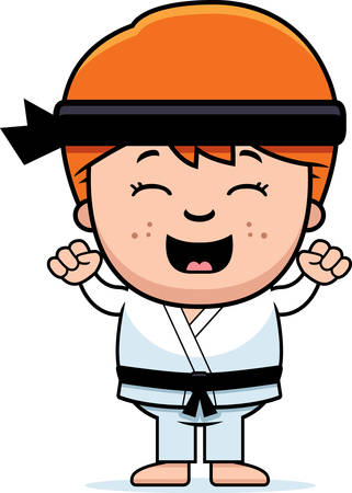 A cartoon illustration of a karate kid celebrating. Illustration
