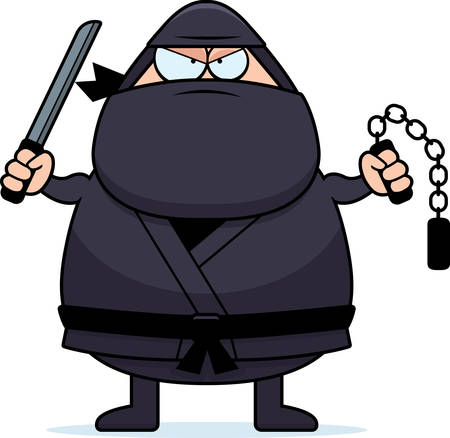 A cartoon illustration of a ninja with weapons. Illusztráció