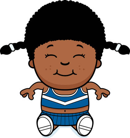 A cartoon illustration of a little cheerleader sitting.