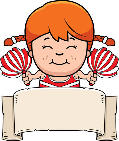 paper clip: A cartoon illustration of a little cheerleader with a banner.