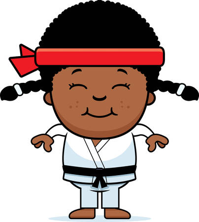 A cartoon illustration of a karate kid smiling. Illustration