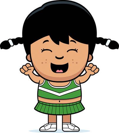 latina: A cartoon illustration of a little cheerleader cheering.