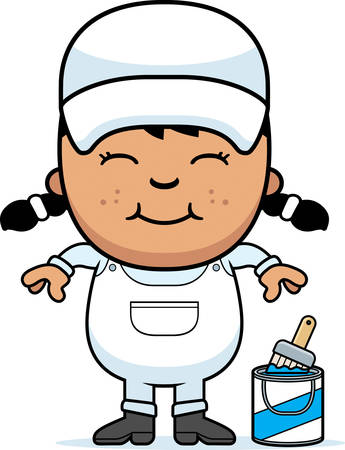 A cartoon illustration of a little painter smiling. Vectores