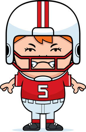 wee: A cartoon illustration of a pee wee football player looking angry.