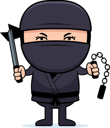 A cartoon illustration of a little ninja with weapons. Illustration