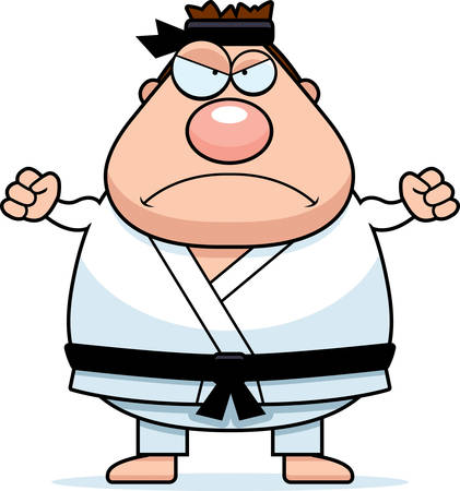 gi: A cartoon illustration of a karate man looking angry.