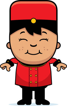 bellhop: A cartoon illustration of a child bellhop smiling. Illustration