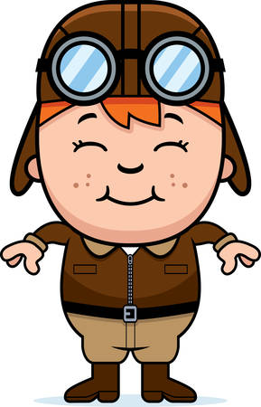 A cartoon illustration of a child pilot smiling.
