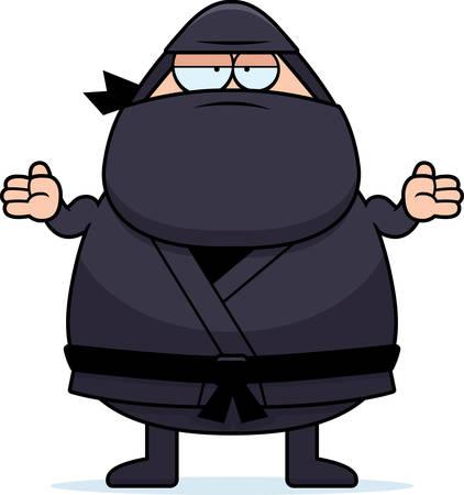 Een cartoon illustratie van een ninja schouderophalend.