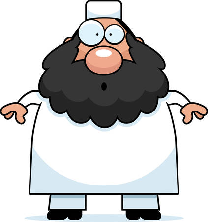 cleric: A cartoon illustration of a Muslim man looking surprised. Illustration