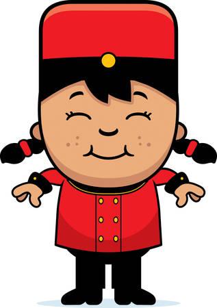 latina: A cartoon illustration of a child bellhop smiling. Illustration