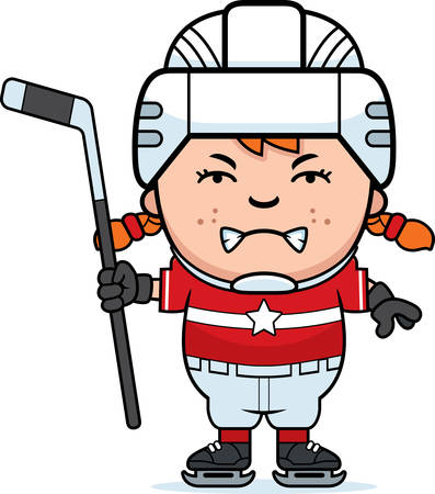A cartoon illustration of a child hockey player looking angry. Ilustração