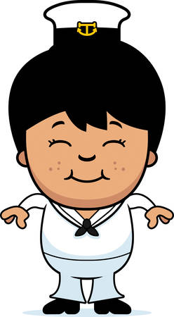 hispanic boys: A cartoon illustration of a little sailor smiling.