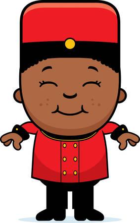 bellhop: A cartoon illustration of a child bellhop smiling. Illustration