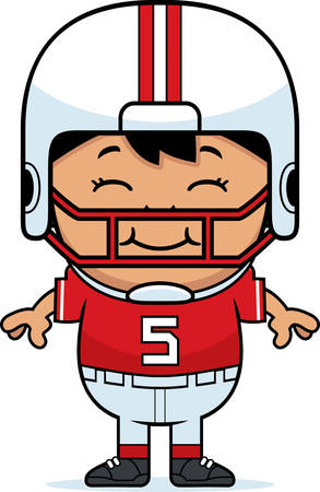wee: A cartoon illustration of a pee wee football player smiling.
