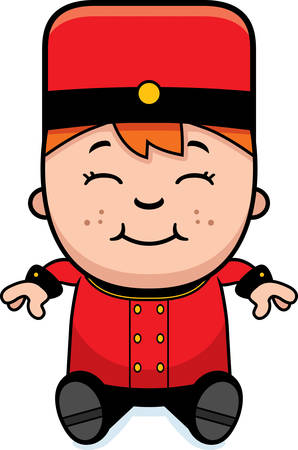 bellhop: A cartoon illustration of a child bellhop sitting.