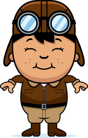 hispanic boys: A cartoon illustration of a child pilot smiling.