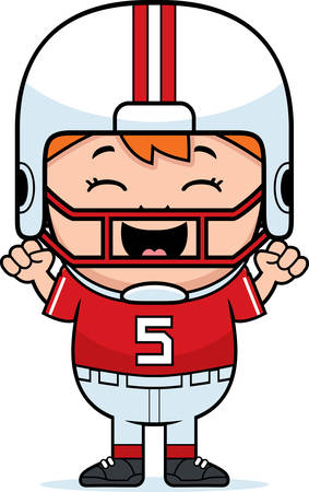 pee pee: A cartoon illustration of a pee wee football player celebrating.