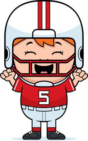 pis: Una ilustración de dibujos animados de un jugador de fútbol pee wee celebrando.