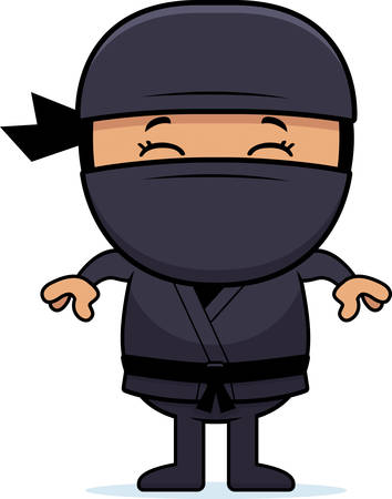 hispanic boys: A cartoon illustration of a little ninja standing.