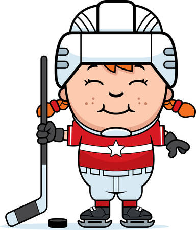 ice hockey player: A cartoon illustration of a child hockey player smiling. Illustration