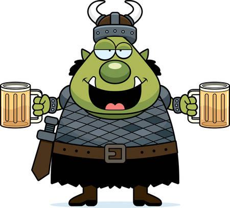 drunk cartoon: A cartoon illustration of an orc looking drunk.