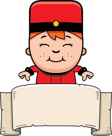 bellhop: A cartoon illustration of a child bellhop with a banner.