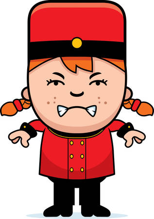 A cartoon illustration of a child bellhop looking angry.