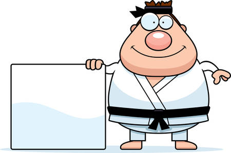 gi: A cartoon illustration of a karate man with a sign. Illustration