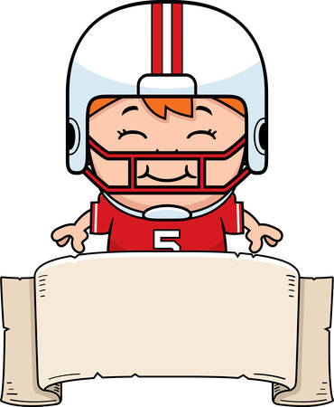 wee: A cartoon illustration of a pee wee football player with a banner.