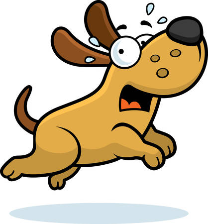 A cartoon illustration of a dog running away scared.