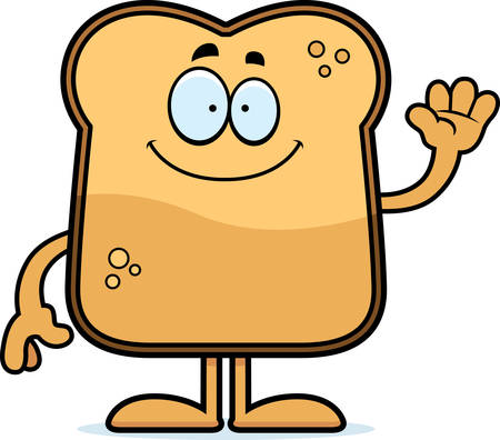 A cartoon illustration of a piece of toast waving. Ilustracja