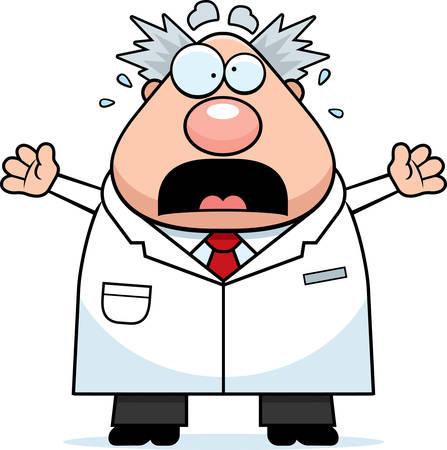 Een cartoon illustratie van een gekke wetenschapper zoekt bang.