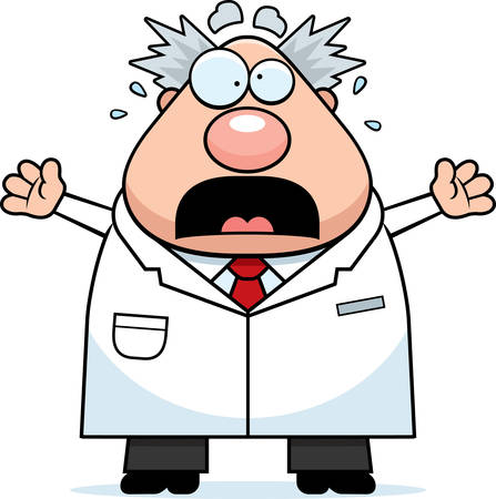 A cartoon illustration of a mad scientist looking scared.
