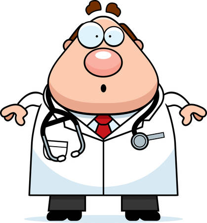 A cartoon illustration of a doctor looking surprised.
