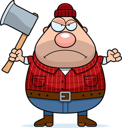 lumberjack: A cartoon illustration of a lumberjack looking angry.