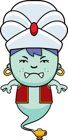 jinn: A cartoon illustration of a little genie looking angry. Vectores