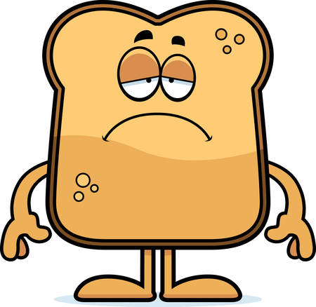 A cartoon illustration of a piece of toast looking sad.