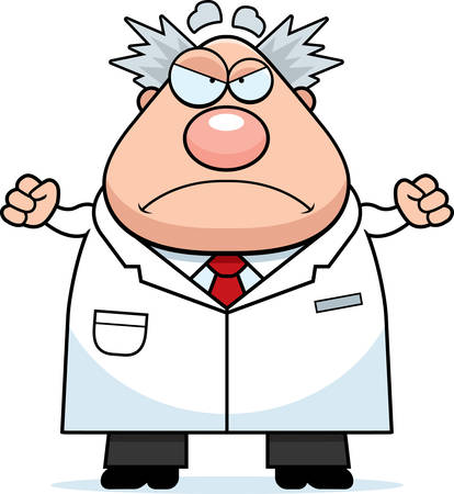 mad scientist: A cartoon illustration of a mad scientist looking angry.